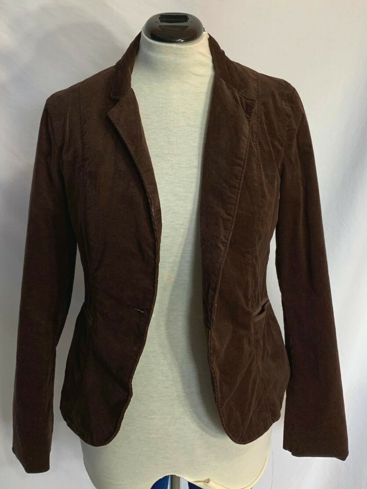 Calvin Klein Jeans Brown Corduroy Blazer Jacket Womens Size Medium 1 Button