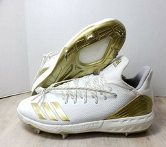 Adidas Boost Icon 4 White Gold Metal Baseball Cleats Shoes CM8476 Mens Sz 12.5 - $45.53