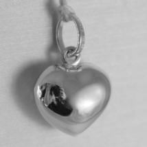 18K WHITE GOLD ROUNDED MINI HEART CHARM PENDANT FINELY HAMMERED MADE IN ITALY image 2