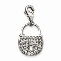 SMALL STAINLESS STEEL POLISHED LOCK / KEY LOCK W CRYSTALS CHARM W/ LOBST... - $25.13