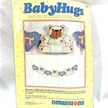 Dimensions Crib Decorations Nursery Decor Bears Hearts BabyHugs Embroide... - $14.55