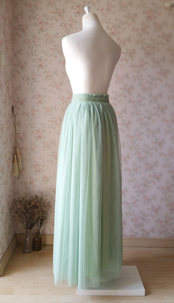 SAGE GREEN Women Tulle Maxi Skirt Sage Green Wedding Tulle Bridesmaid Skirt Maxi