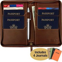 Leather Travel Wallet & Passport Holder: Passport Cover holds 4 Passport... - $45.69