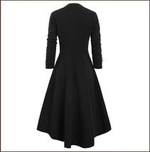 Retro Gothic Long Cuffed Sleeves 3 Bust Straps Zip Up Asymmetrical Hem Dress image 4