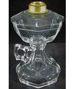 Antique EAPG Oil / Kerosene Footed Hand Pedestal Lamp Octagonal Geometri... - $44.55