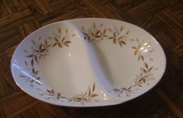 Vintage Sango AUTUMN Divided Vegetable Dish pink/yellow flowers brown wh... - $6.48