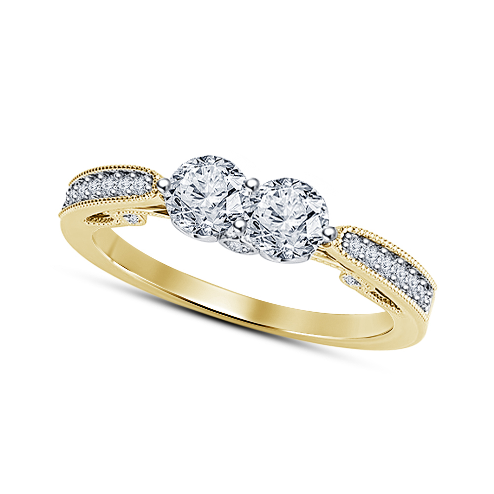 Primary image for Two Stone Lab Created Diamond Womens Engagement Ring 14K Gold Plated 925 Silver