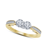 Two Stone Lab Created Diamond Womens Engagement Ring 14K Gold Plated 925... - $64.99