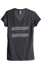 Thread Tank Equality Women's Relaxed V-Neck T-Shirt Tee Charcoal - $24.99+