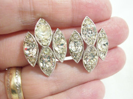 Vintage Bogoff Sparkle Clear Rhinestone Silver Plate Clip Earrings Estate - $17.33