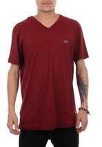 Lacoste Men's Sport Athletic Premium Pima Cotton V-Neck Shirt T-Shirt Wine