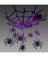 LIGHTED BLACK SPIDER WEB spooky CHANDELIER HALLOWEEN DECORATION creepy l... - $39.99