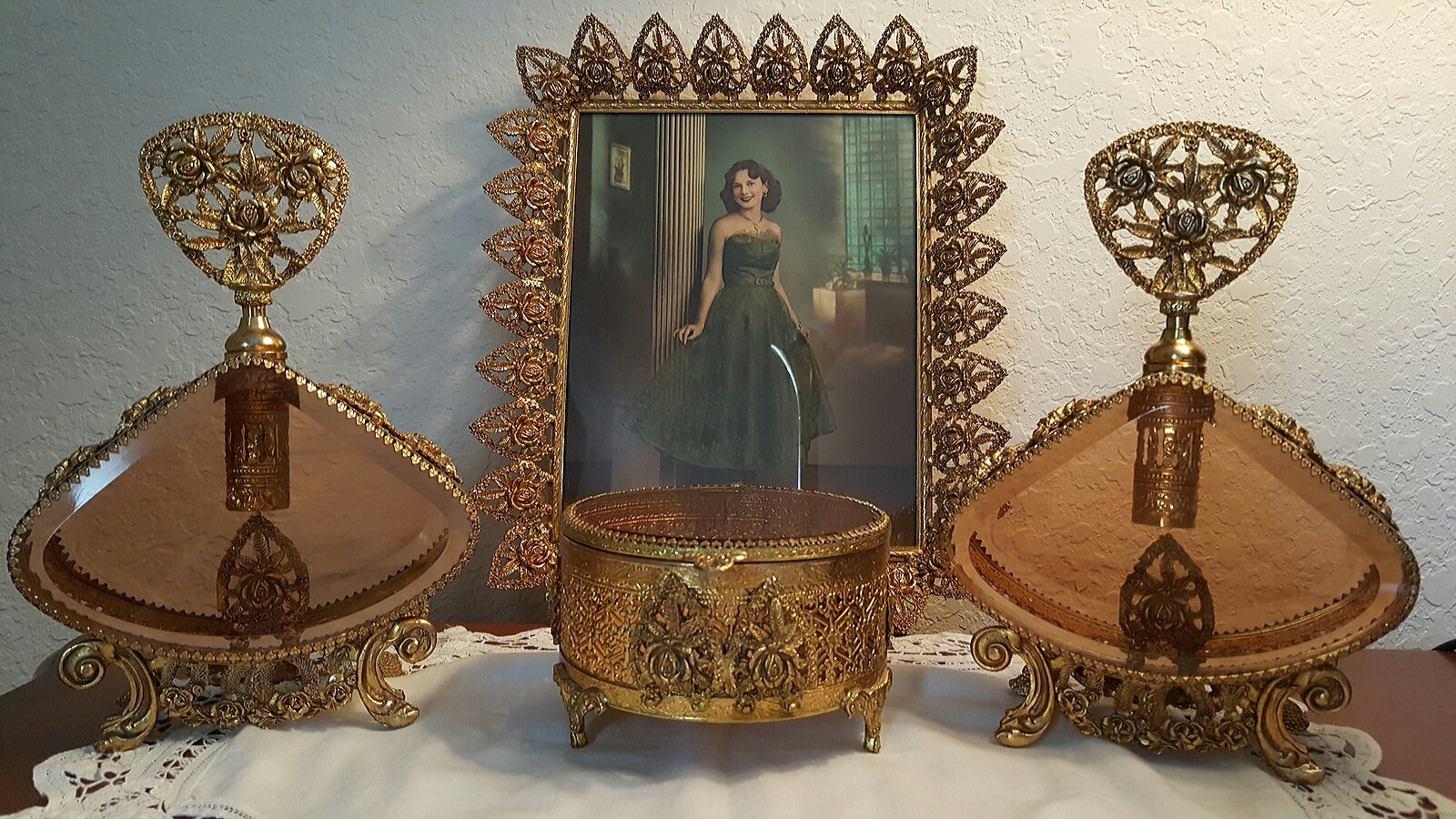 Ornate Floral Antique Gold Glass Perfume Vanity Set 4 Pieces
