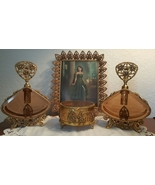 Ornate Floral Antique Gold Glass Perfume Vanity Set 4 Pieces - $145.00