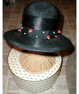 Black Straw Hat Wood beads Chesterfield VINTAGE with BONUS Antique Brooch - $49.50