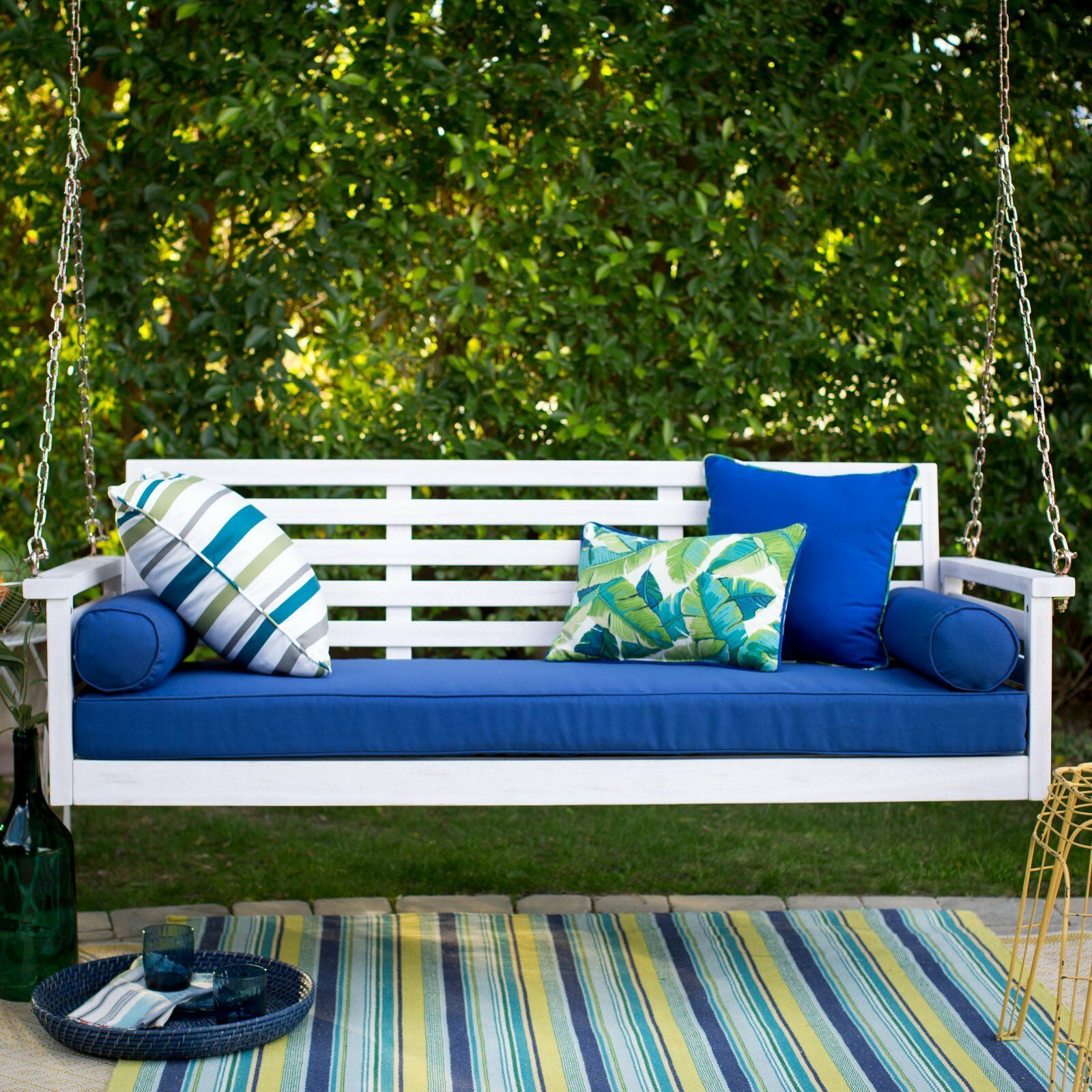 """White Coastal Cottage Wood 65"""" Porch Swing With Blue Cushions Outdoor Furniture"""