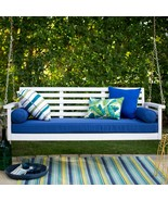 """White Coastal Cottage Wood 65"""" Porch Swing With Blue Cushions Outdoor Fu... - $549.43"""