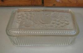 Vintage Federal Glass Refrigerator Dish w Lid FRUITS Ole Kitchen - $10.88