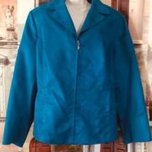 Evan-Picone Woman Blazer 18W Blue Zip Turquoise - $17.70