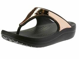 CROCS Women's Sandals Sloane Hammered Metal Flip Flop Black/Rose Gold sz... - $29.99