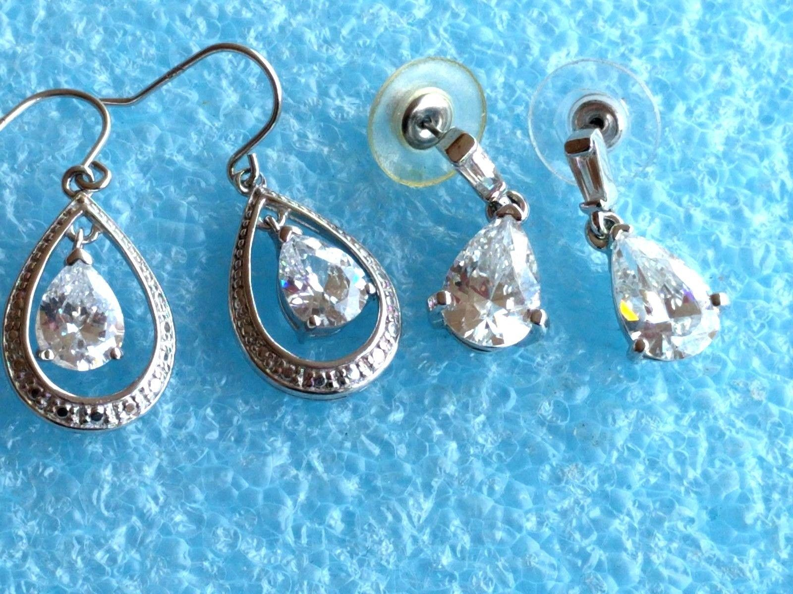 Primary image for 2 VINTAGE STERLING SILVER CZ or CRYSTAL OPEN BACK DANGLE EARRINGS 925 LOT