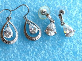 2 VINTAGE STERLING SILVER CZ or CRYSTAL OPEN BACK DANGLE EARRINGS 925 LOT - $49.49
