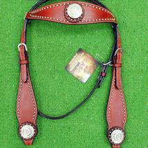 Western Horse Headstall Tack Bridle American Leather Mahogany Crystal U-3-HS - $69.95