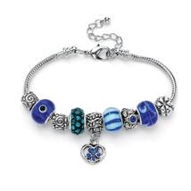 PalmBeach Jewelry Blue Crystal Bali-Style Half-Beaded Charm Bracelet Sil... - £11.45 GBP