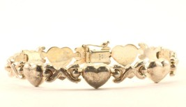 Vintage XOXO Heart Shape Design Link Bracelet Sterling 925 BR 2618 - $49.99