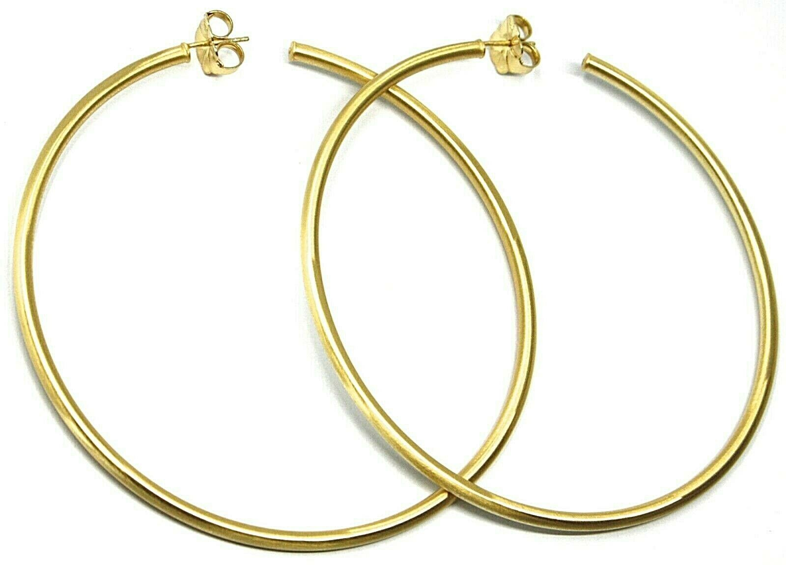 925 STERLING SILVER CIRCLE HOOPS BIG EARRINGS 8.5cm x 3mm YELLOW SATIN FINISH