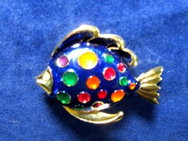 Vintage very HTF brooch  gold tone fish brooch pin by Don Lin enamel co... - $44.55