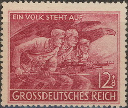 1945 WWII Soldiers Bayonet Charge Germany Postage Stamp Catalog B291 MNH