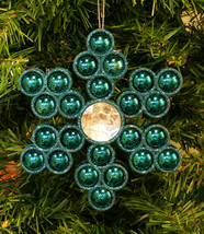 TURQUOISE GLITTER SNOWFLAKE w/ BEADS AND RHINESTONE CHRISTMAS ORNAMENT - $9.88