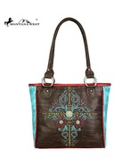 Montana West Concho Collection Tooled Embroidered Tote Handbag Coffee/Tu... - $62.99