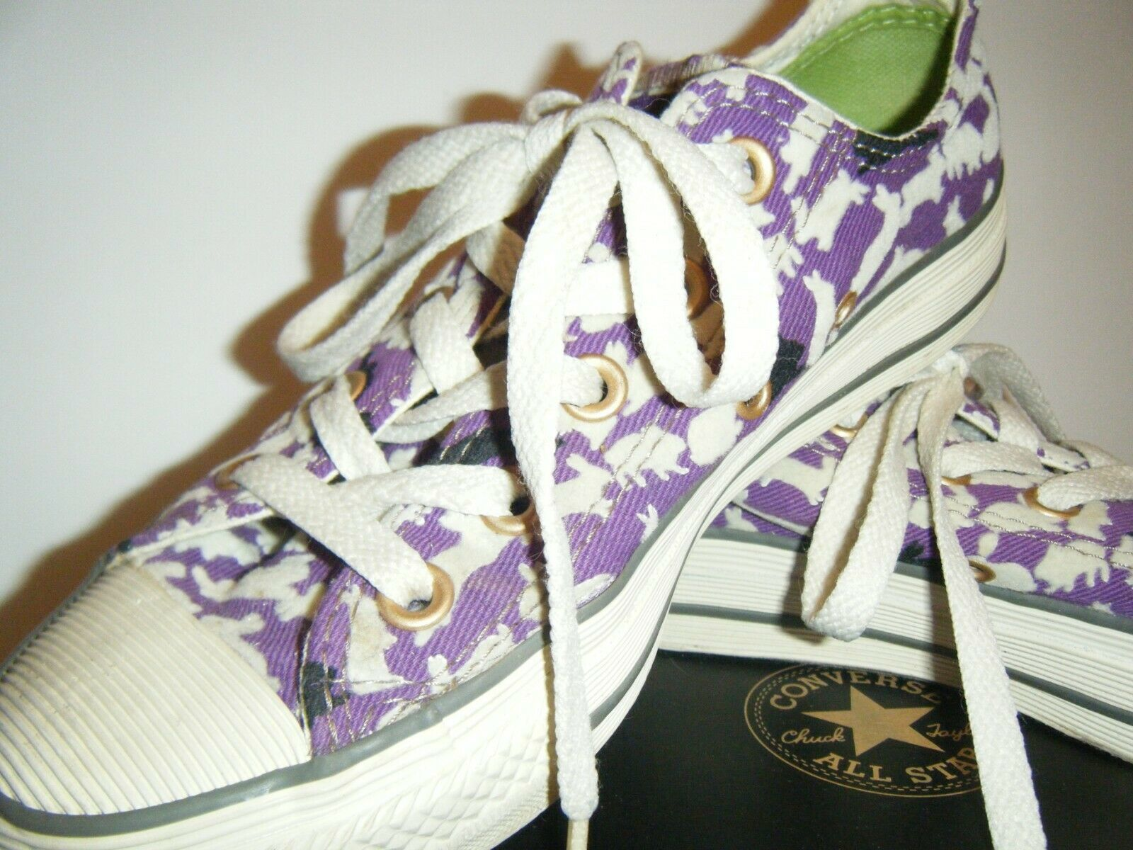 Converse All Star Tennis Shoes Mens 3 Womens 5 Ox Bunny Rabbit Purple Flocked image 3