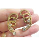SARAH COVENTRY Gold Plate SPIRAL RHINESTONE HUGGIE Clip Earrings COV Vin... - $15.83
