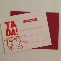 Retro Style Girl Birth Announcements TA DA! She's Here! Red & White Set ... - $4.50