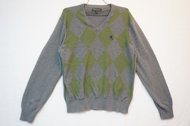 Express Light-Midweight V-Neck Cotton Argyle Sweater, Men's Medium 7035 - $14.21