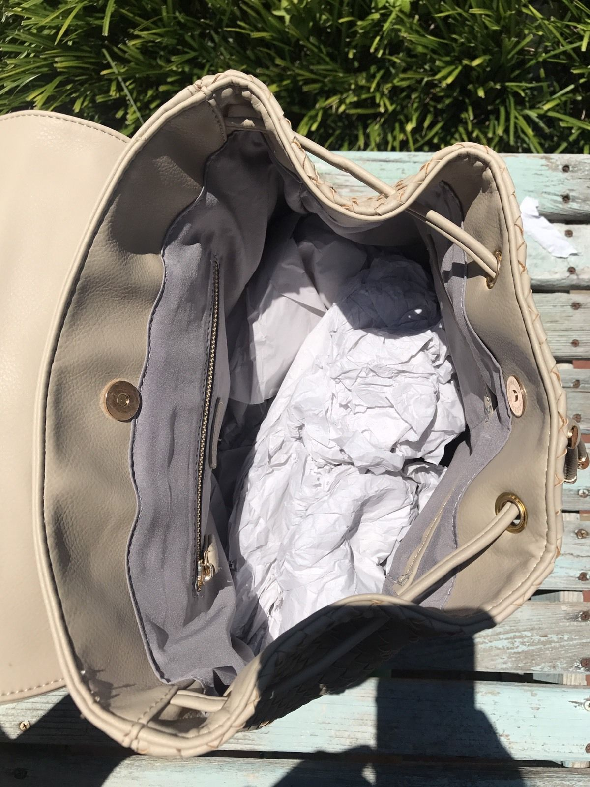 Deux Lux Luxury Bowery Backpack Camel/Off-White/Cream $130 NEW with tags NWT image 5