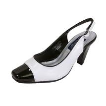 PEERAGE Roxy Women Wide Width Classic 2 Tone White/Black Leather Dress Shoe - $49.45