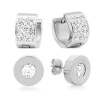 PIATELLA Ladies Set of 2 Stainless Steel 8mm Stud & 13mm hoop earrings a... - $14.99