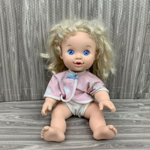 Vintage Hasbro Doll Baby 1989 Uh Oh 13 Inch Drinks Wets Blonde Hair Blue... - $19.99