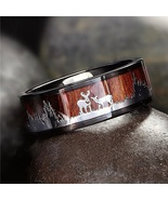 Black Tungsten Hunting Ring Wedding Band Wood Inlay Deer Stag Silhouette... - $15.00