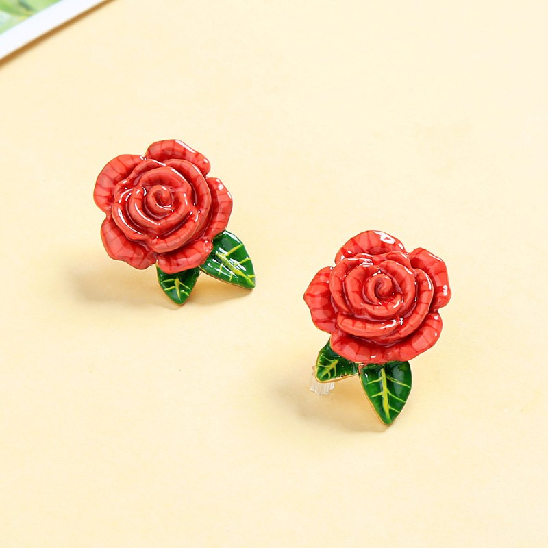 Red Enamel Rose Flowers Plant Green Leaf Stud Earrigns For Christmas