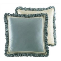 Croscill Home Corfu Euro Pillow Sham Sky Blue Velvet Reversible - $22.72