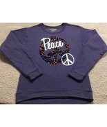 Hanes Animal Print Peace Sign Girls Purple Sweatshirt Size XL NEW Soft - $13.12