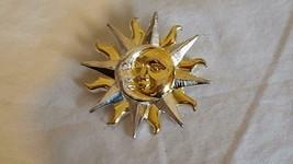 "1.5""VINTAGE DESIGNER SIGNED AK CELESTIAL TRIO BROOCH PIN,SUN MOON STAR,2... - $10.22"