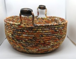 New Large Earth Colored Fabric Covered Corded Basket - $35.00