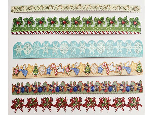 """K&Company Visions of Christmas 12"""" Glitter Adhesive Borders, 24 Pieces"""
