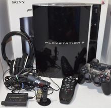 Sony PlayStation 3 80GB Black Console Bundle 18 Games Headset Bluetooth ... - $266.00